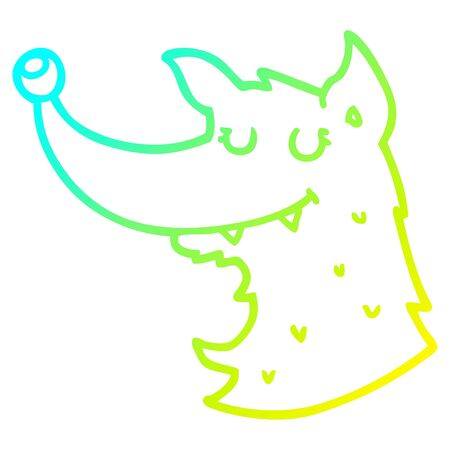 cold gradient line drawing of a cartoon wolf Stock Illustratie