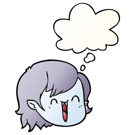 cartoon vampire girl face with thought bubble in smooth gradient style Ilustração