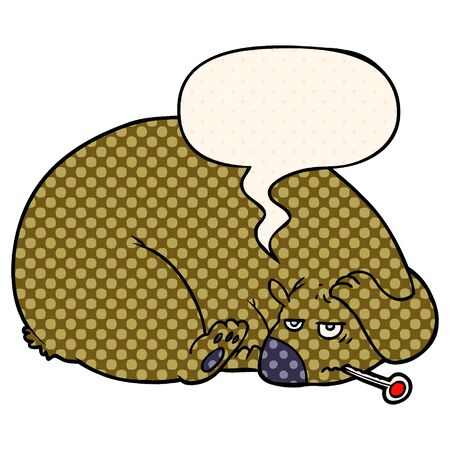 cartoon bear with a sore head with speech bubble in comic book style Ilustração