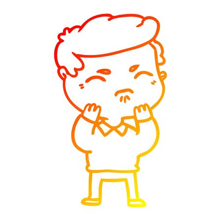warm gradient line drawing of a cartoon annoyed man