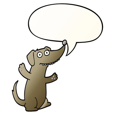 cartoon dog with speech bubble in smooth gradient style