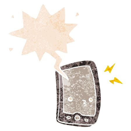 cartoon mobile phone with speech bubble in grunge distressed retro textured style