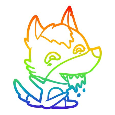 rainbow gradient line drawing of a cartoon hungry wolf