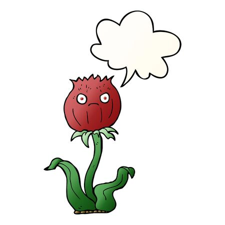 cartoon thistle with speech bubble in smooth gradient style