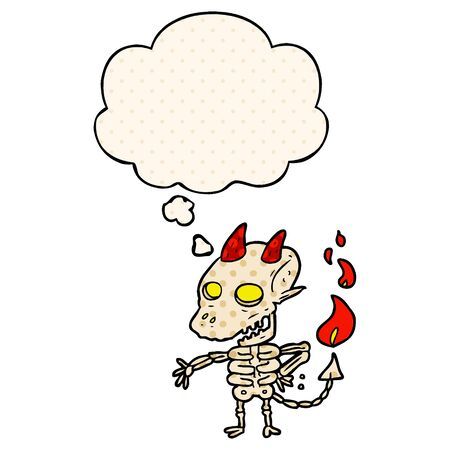 cartoon spooky demon with thought bubble in comic book style 向量圖像