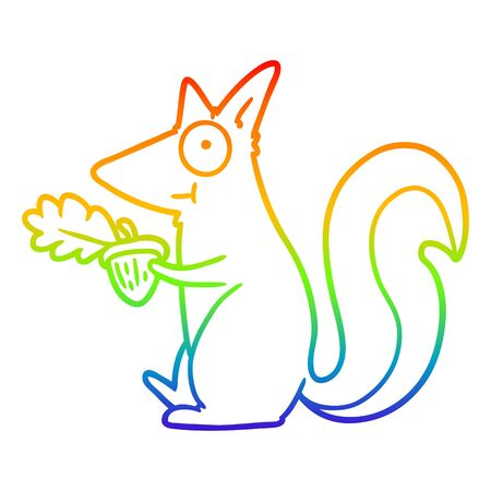 rainbow gradient line drawing of a cartoon squirrel with acorn