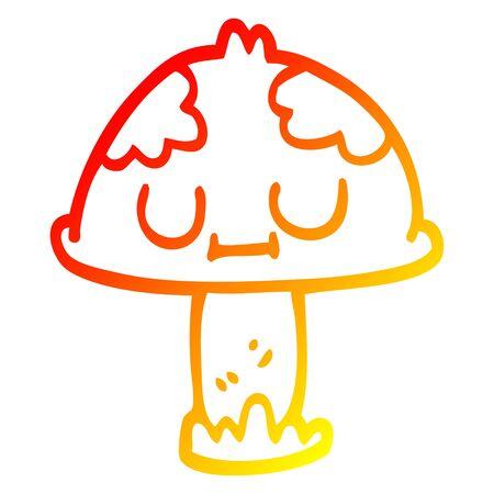 warm gradient line drawing of a cartoon cute mushroom Illustration