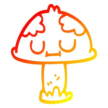 warm gradient line drawing of a cartoon cute mushroom 向量圖像