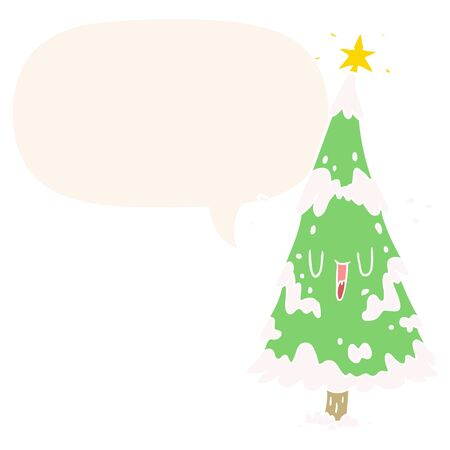 cartoon snowy christmas tree with happy face with speech bubble in retro style Illustration