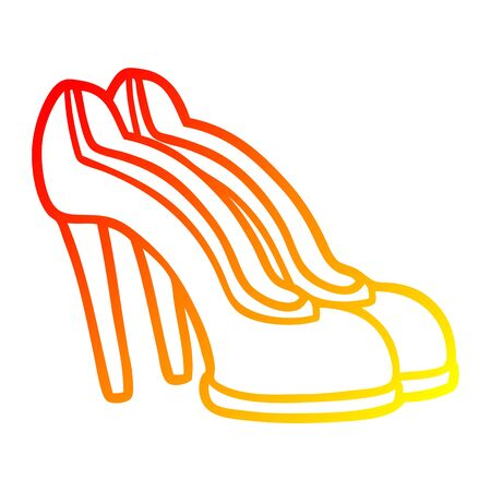 warm gradient line drawing of a cartoon red shoes