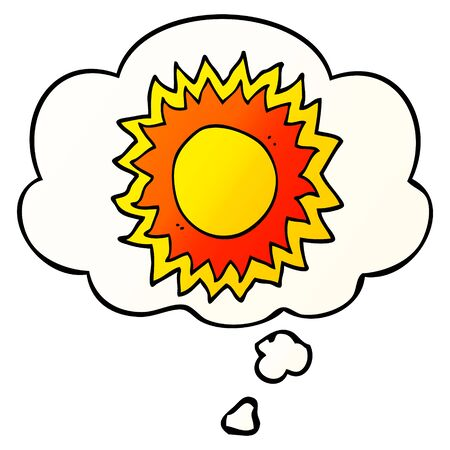 cartoon sun with thought bubble in smooth gradient style Ilustração