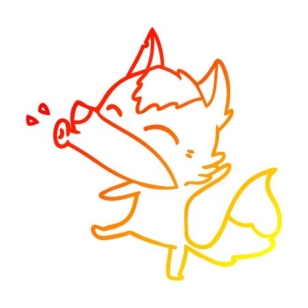 warm gradient line drawing of a howling wolf cartoon Stock Illustratie