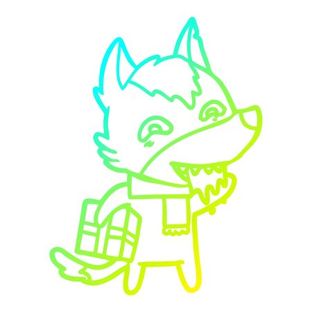 cold gradient line drawing of a cartoon hungry wolf holding christmas present