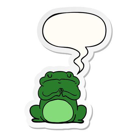 cartoon arrogant frog with speech bubble sticker