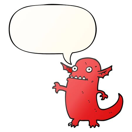cartoon halloween monster with speech bubble in smooth gradient style