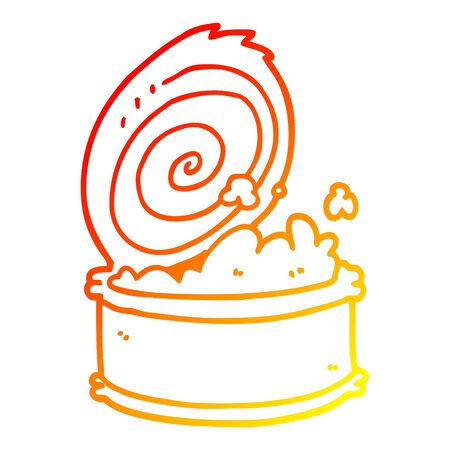 warm gradient line drawing of a cartoon canned fish 向量圖像