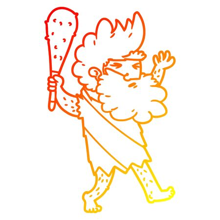 warm gradient line drawing of a cartoon cave man Stock Illustratie