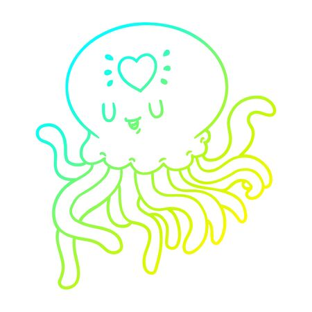 cold gradient line drawing of a cartoon jellyfish in love 向量圖像