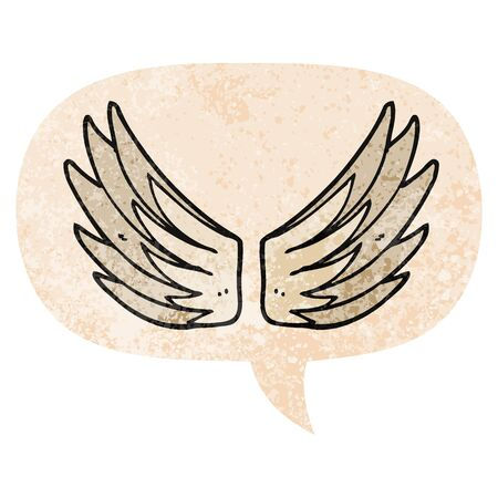cartoon wings symbol with speech bubble in grunge distressed retro textured style