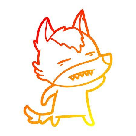 warm gradient line drawing of a cartoon wolf waving showing teeth