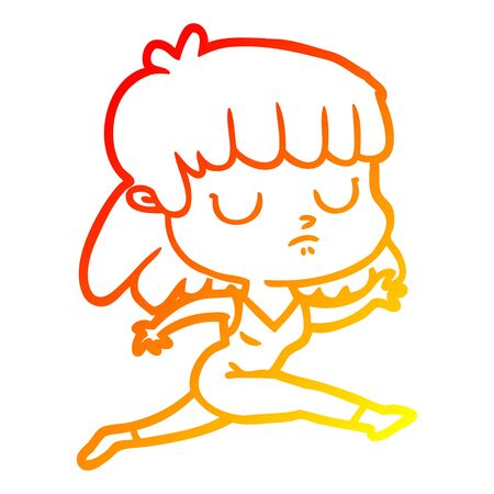 warm gradient line drawing of a cartoon indifferent woman running
