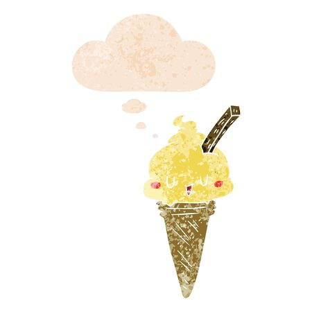 cute cartoon ice cream with thought bubble in grunge distressed retro textured style Иллюстрация