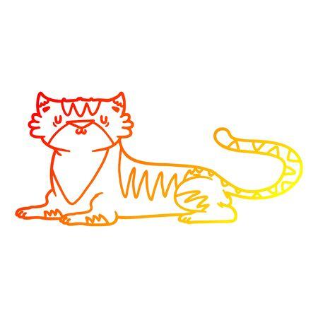warm gradient line drawing of a cartoon tiger
