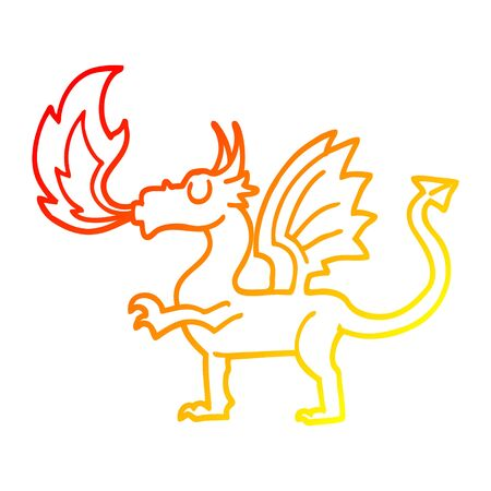 warm gradient line drawing of a cartoon red dragon Иллюстрация