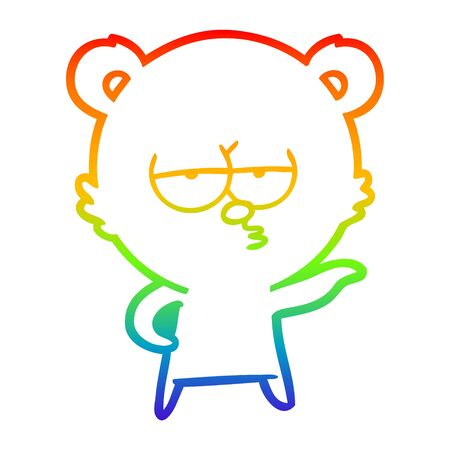 rainbow gradient line drawing of a bored polar bear cartoon