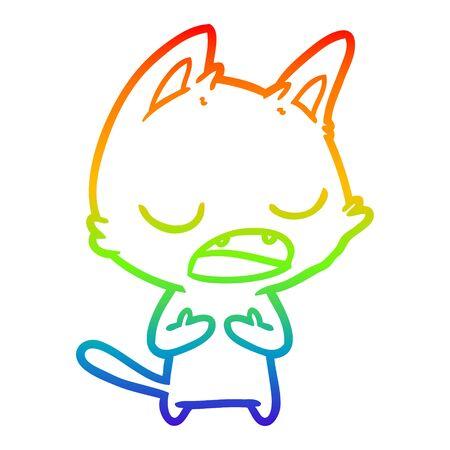 rainbow gradient line drawing of a talking cat cartoon Illustration