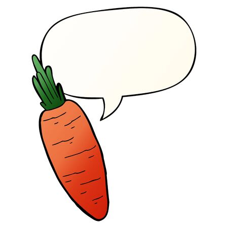 cartoon carrot with speech bubble in smooth gradient style