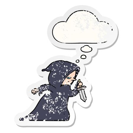cartoon assassin with thought bubble as a distressed worn sticker