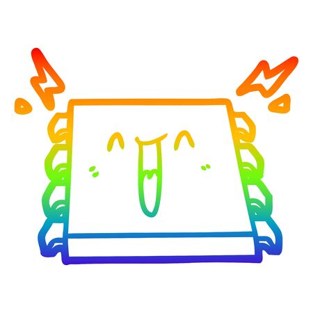 rainbow gradient line drawing of a happy computer chip cartoon