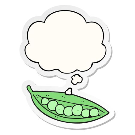 cartoon peas in pod with thought bubble as a printed sticker Banque d'images - 130576972