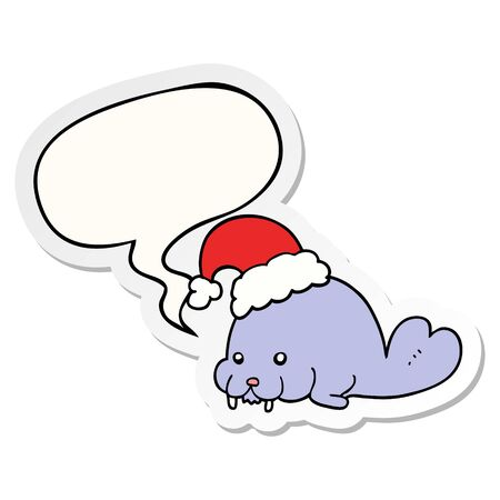 cartoon christmas walrus with speech bubble sticker Ilustracja