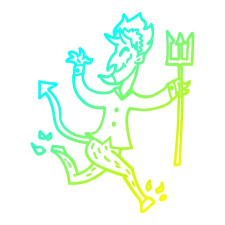 cold gradient line drawing of a cartoon devil with pitchfork Stock Illustratie