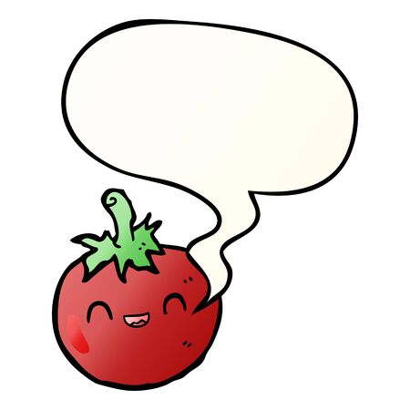 cute cartoon tomato with speech bubble in smooth gradient style