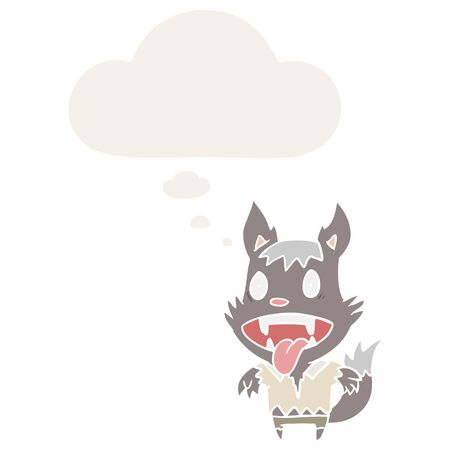 cartoon werewolf with thought bubble in retro style 向量圖像