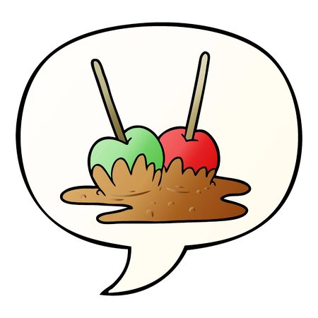 cartoon toffee apples with speech bubble in smooth gradient style