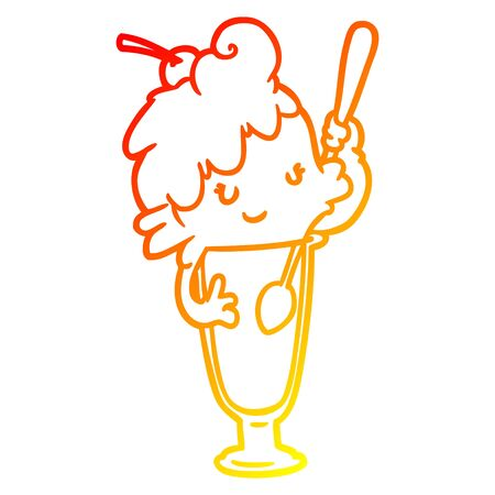 warm gradient line drawing of a ice cream soda girl Фото со стока - 130577147