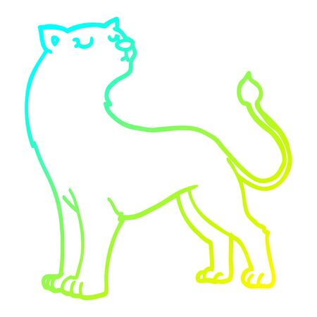 cold gradient line drawing of a cartoon lioness
