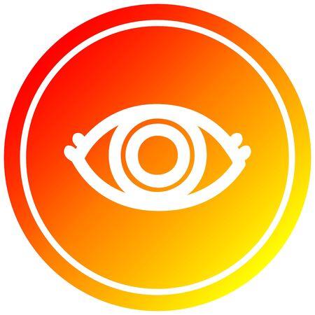staring eye circular icon with warm gradient finish  イラスト・ベクター素材