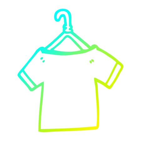 cold gradient line drawing of a cartoon t shirt on hanger Ilustracja