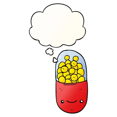cartoon pill with thought bubble in smooth gradient style