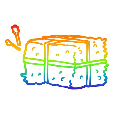 rainbow gradient line drawing of a cartoon bale of hay Иллюстрация