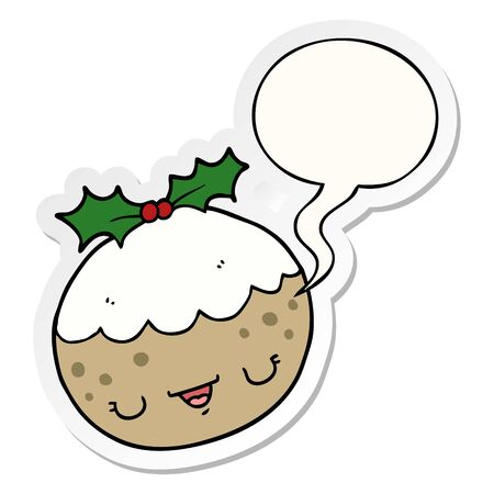 cute cartoon christmas pudding with speech bubble sticker