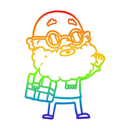 rainbow gradient line drawing of a cartoon curious man with beard sunglasses and present