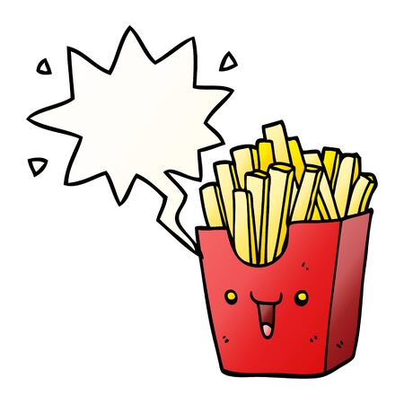 cute cartoon box of fries with speech bubble in smooth gradient style