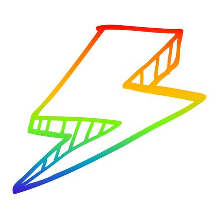 rainbow gradient line drawing of a cartoon lightning bolt Banco de Imagens - 130577109