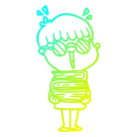 cold gradient line drawing of a cartoon boy with amazing books